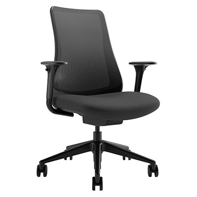 Via Seating Task Seating Mid-Back Mesh Chair with Adjustable Arms