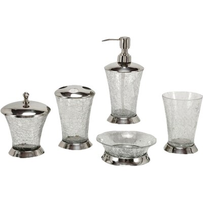 Fashion home classic 5 piece crackle glass bathroom for Fashion bathroom set