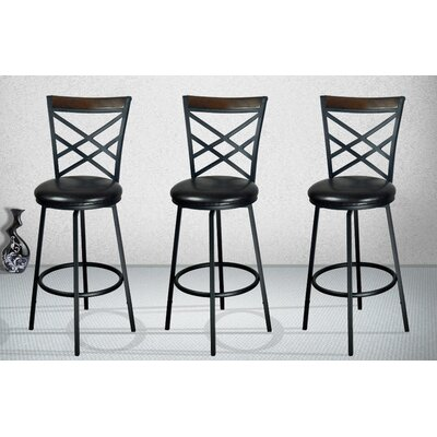 eHemco Adjustable Height Swivel Bar Stool with Cushion (Set of 3)