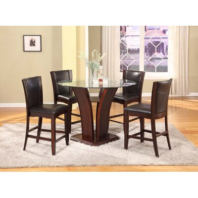 Roundhill Furniture Clar 5 Piece Counter Height Dining Set
