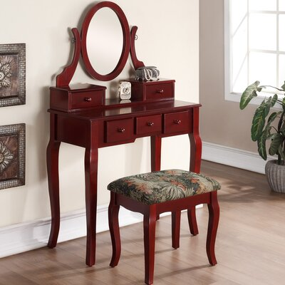 Roundhill Furniture Ashley Wood Makeup Vanity Set with Mirror