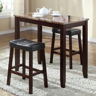 Roundhill Furniture 3 Piece Counter Height Pub T..