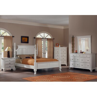 Roundhill Furniture Laveno Four Poster 5 Piece Bedroom Set