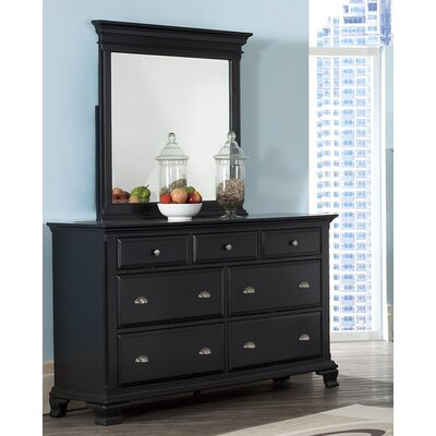 Roundhill Furniture Laveno 7 Drawer Dresser with Mirror