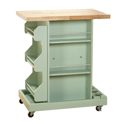 Bungalow Rose Terhune Kitchen Cart with Wood Top