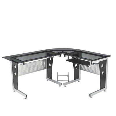 HomCom Modern L-Shaped Glasstop Computer Desk
