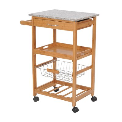 HomCom Kitchen Cart with Granite Top