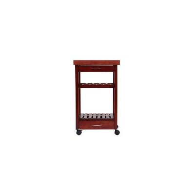 HomCom Kitchen Cart with Wood Top