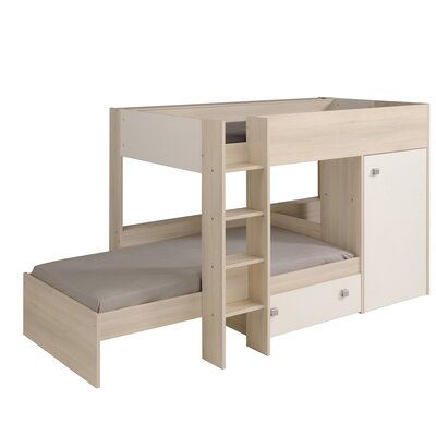 Parisot Ninety Twin Over Twin Bunk Bed with Tru..