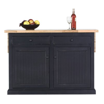 Breakwater Bay Meredith Kitchen Island with Butcher Block Top