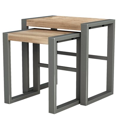 ASTA Home Furnishing Industrial 2 Piece Nesting Table Set