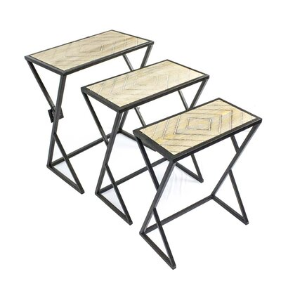 Sagebrook Home 3 Piece Metal & Wood Nesting Tables