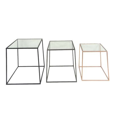 Sagebrook Home 3 Piece Metal & Glass End Table Set
