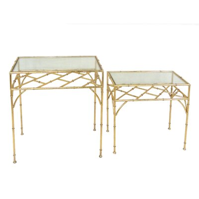 Sagebrook Home 2 Piece Metal and Glass End Table Set