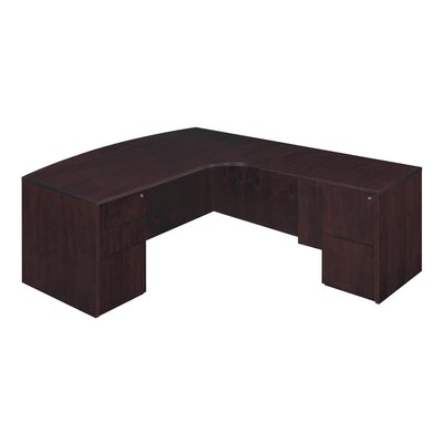 Flexsteel Contract Saratoga L-Shape Executive Desk with Bow Front