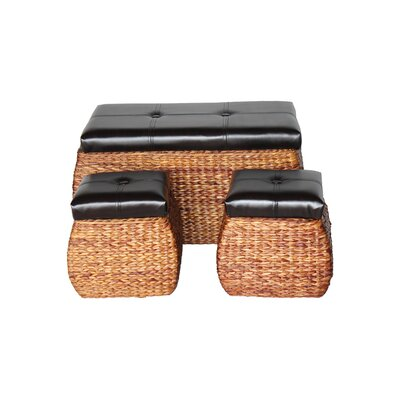 Attraction Design Home 3 Piece Wicker Trunk and Ottoman Set