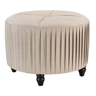 Rosalind Wheeler Natural Linen Pleated Ottoman