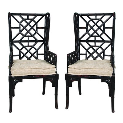 Bay Isle Home Waddell Bamboo Rayon Wing Back Arm Chair (Set of 2)