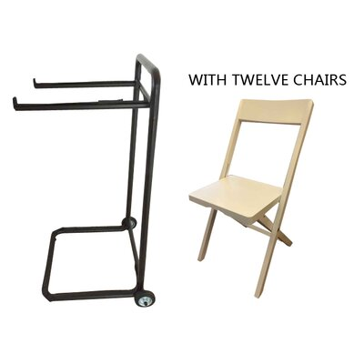 Symple Stuff 13 Piece Standard Flat Side Chair Set with Trolley