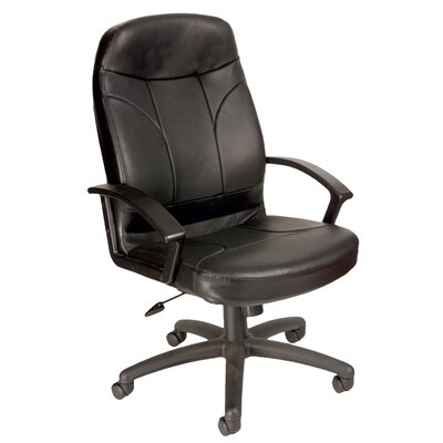 Symple Stuff High-Back Leather Executive Chair with Lumbar Support