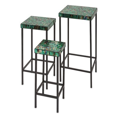 World Menagerie 3 Piece Slama Mosaic Glass Tables Set