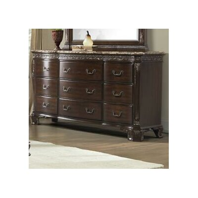 Picket House Furnishings Victoria 9 Drawer Marble Top Dresser