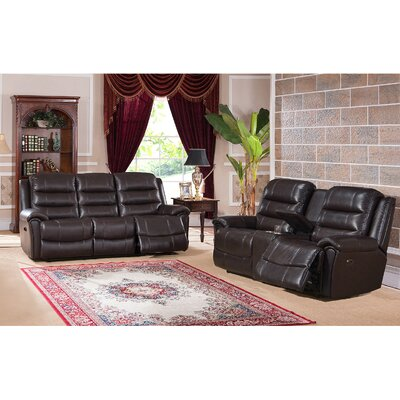 Amax Astoria Leather Recliner Sofa and Loveseat Set