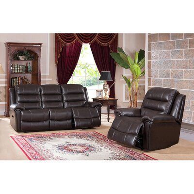 Amax Astoria 2 Piece Leather Living Room Set