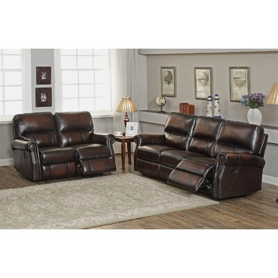 Amax Nevada Leather Recliner Sofa and Loveseat Set
