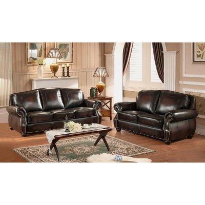 Amax Vail Leather Sofa and Loveseat Set