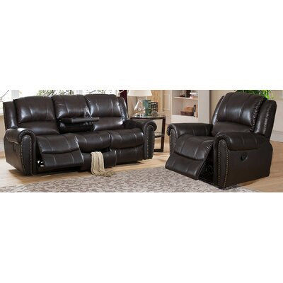 Amax Charlotte Leather Recliner Sofa and Chair Set