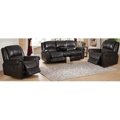 Amax Charlotte 3 Piece Leather Recliner Living R..