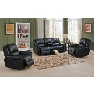 Amax Houston 3 Piece Leather Living Room Set