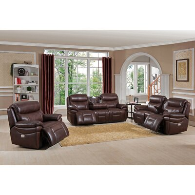 Amax Sanford 3 Piece Leather Power Reclining Living Room Set with USB Ports, Power Headrests, and Drop Down Table