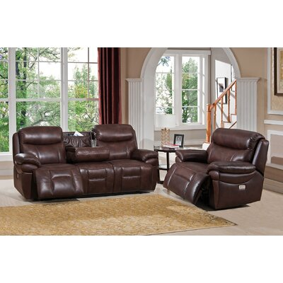 Amax Sanford 2 Piece Leather Power Reclining Living Room Set with USB Ports, Power Headrests, and Drop Down Table