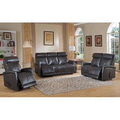 Amax Mosby 3 Piece Leather Living Room Set
