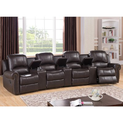 Amax Bloomington Leather 4-Seat Home Thea..