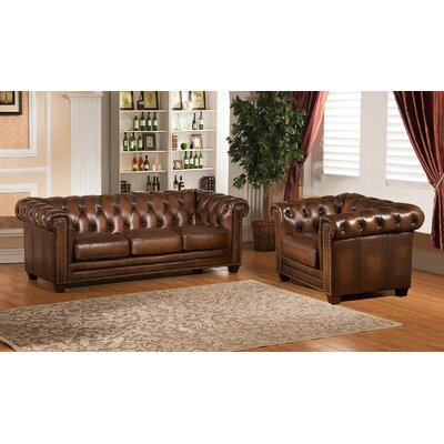Amax Hickory Chesterfield Genuine Leather Sofa and Chair Set