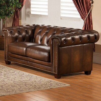 Amax Hickory Chesterfield Leather Loveseat