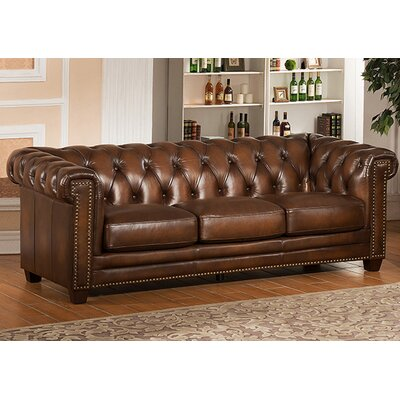 Amax Hickory Chesterfield Leather Sofa