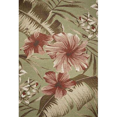 Kas Rugs Horizon Sage Green Floral Hibiscus Indoor Outdoor