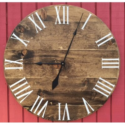 essex crafted wood products oversized 30 quot brentwood stained wood wall clock reviews wayfair