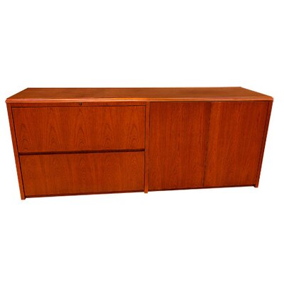 Carmel Furniture Waterfall Series Credenza Desk with Lateral File and Doors