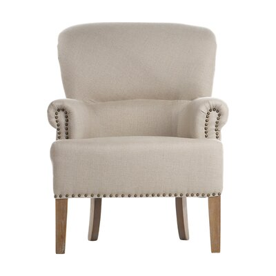 Joseph Allen Occasional Antique White Linen Nailhead Trim Arm Chair