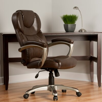 Latitude Run Annabelle Leather Executive Chair with Adjustable Lumbar