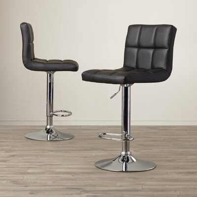 Latitude Run Andres Adjustable Height Swivel Bar Stool (Set of 2)