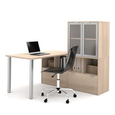 Latitude Run Luther 4-Piece L-Shape Desk Office Suite