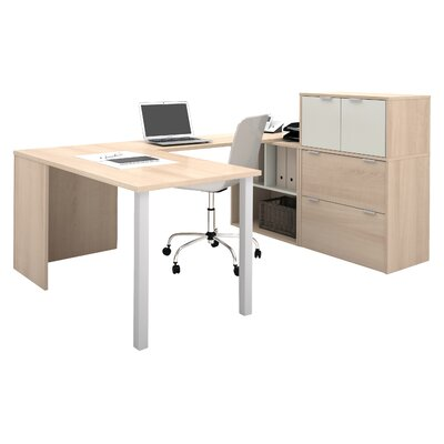 Latitude Run Luther Executive Desk with File Cabinet