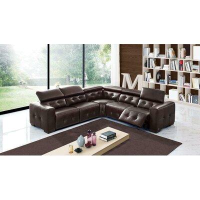 Latitude Run Tammie Leather Sectional with 2 Power Recliners