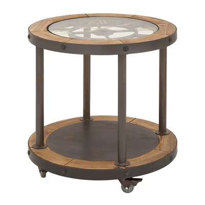 Urban Designs Clock Top Industrial Round End Table